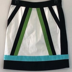 Etcetera geometric color block skirt